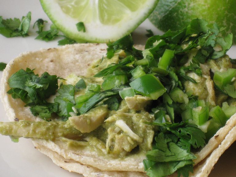 fresh chicken tacos with cilantro and jalapeno