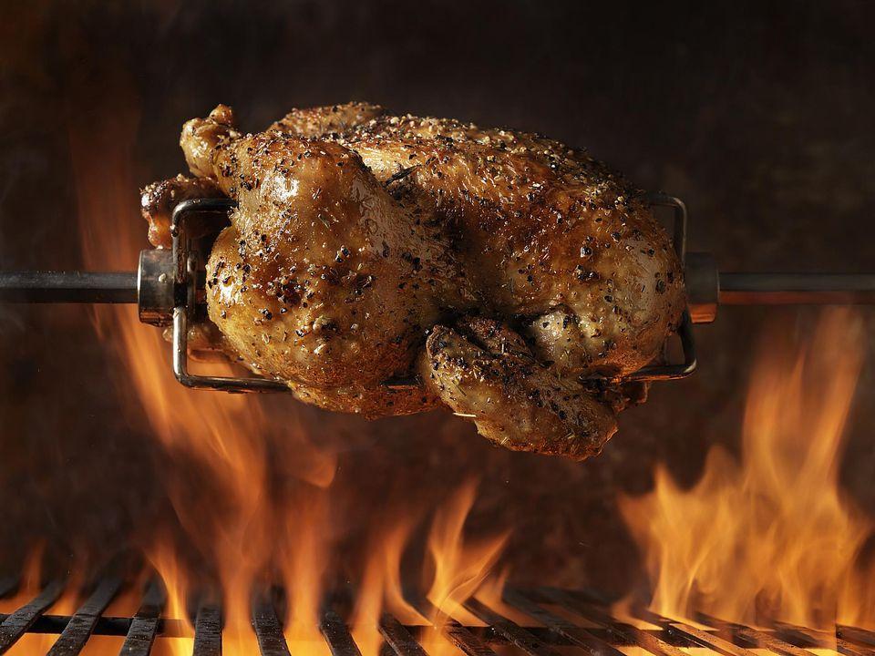 Spit-roasted turkey