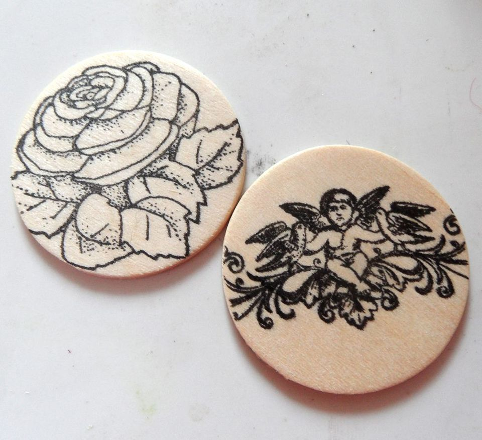 how to stamp on wood to make embellishments