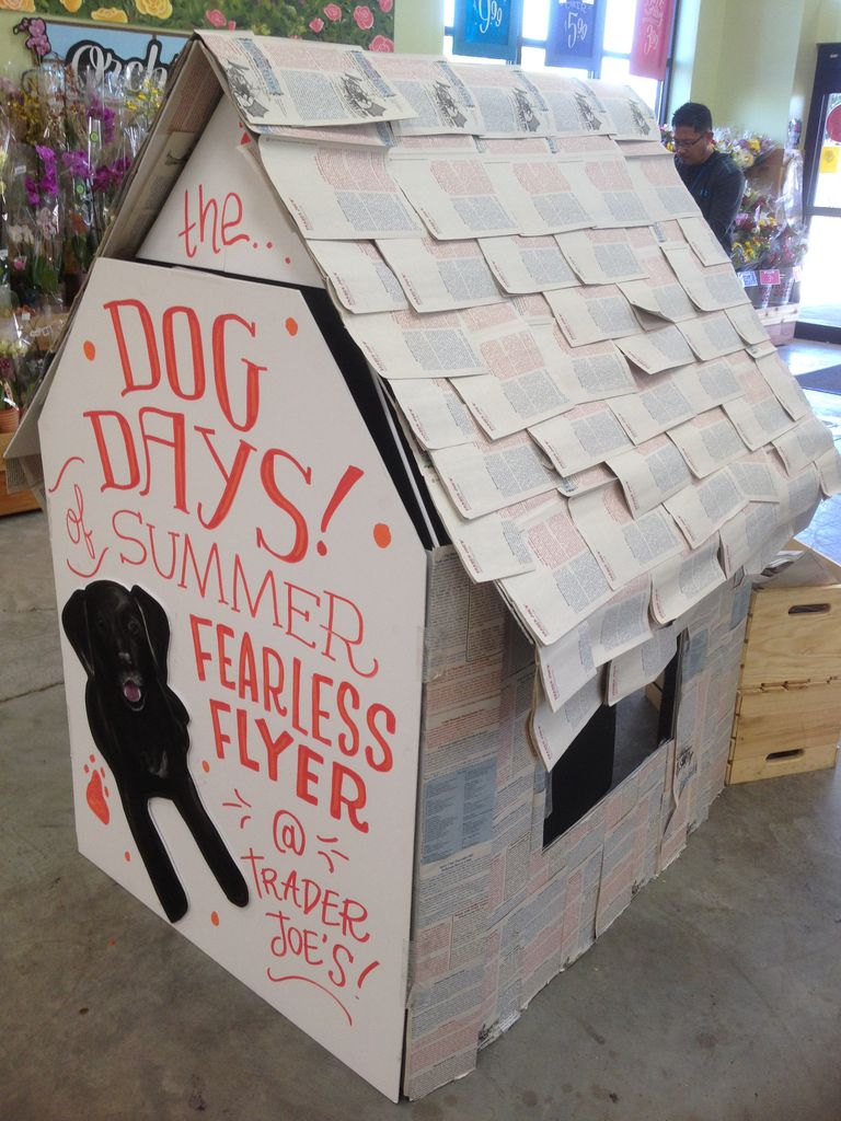 Trader Joe's store display made of frequent flyers on a dog house