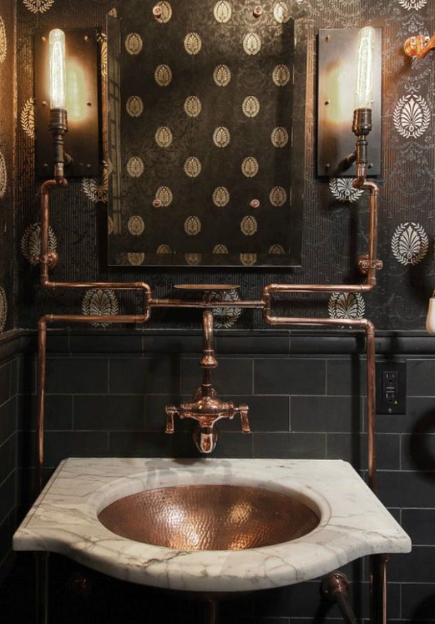 bathroom inspiration industrial vintage. Jane Kim Design