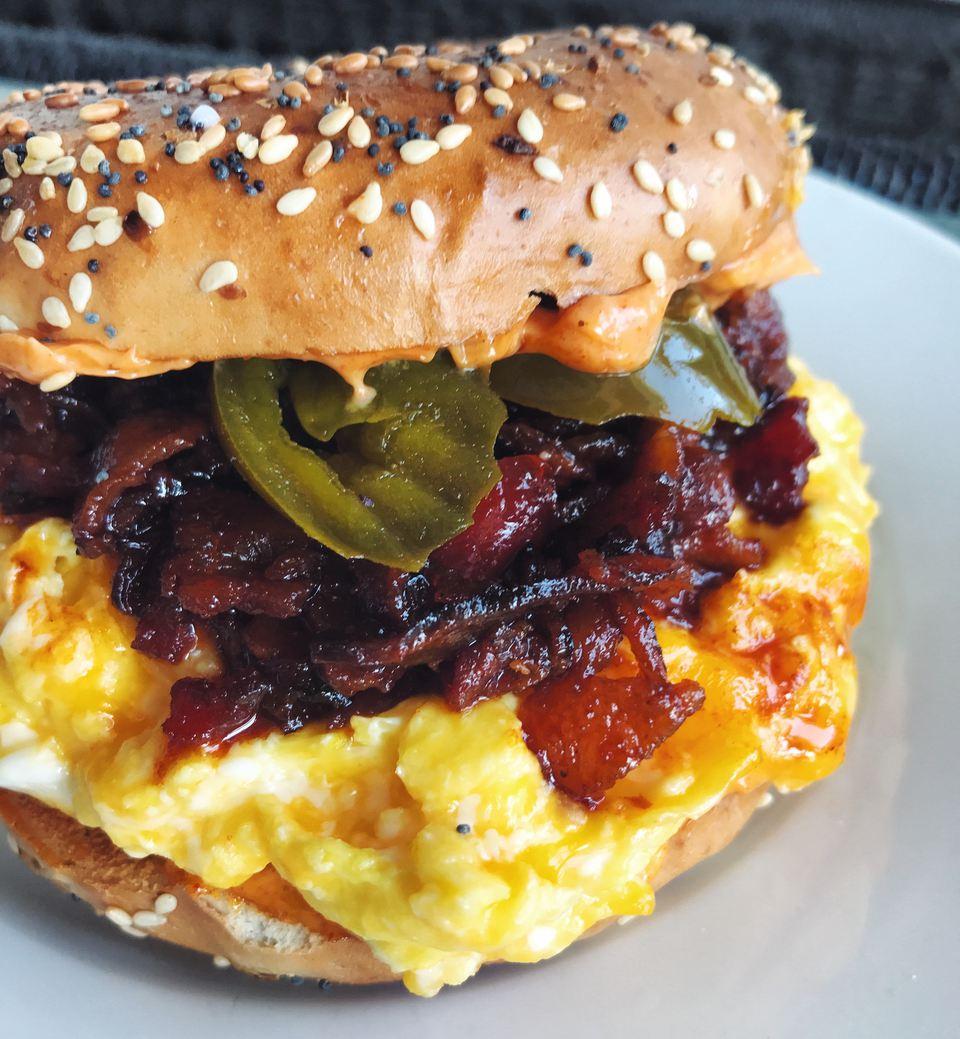 Bacon Jam, Egg + Cheese Bagel Sandwich