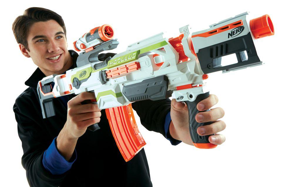 A boy with a Nerf N-Strike Modulus Blaster
