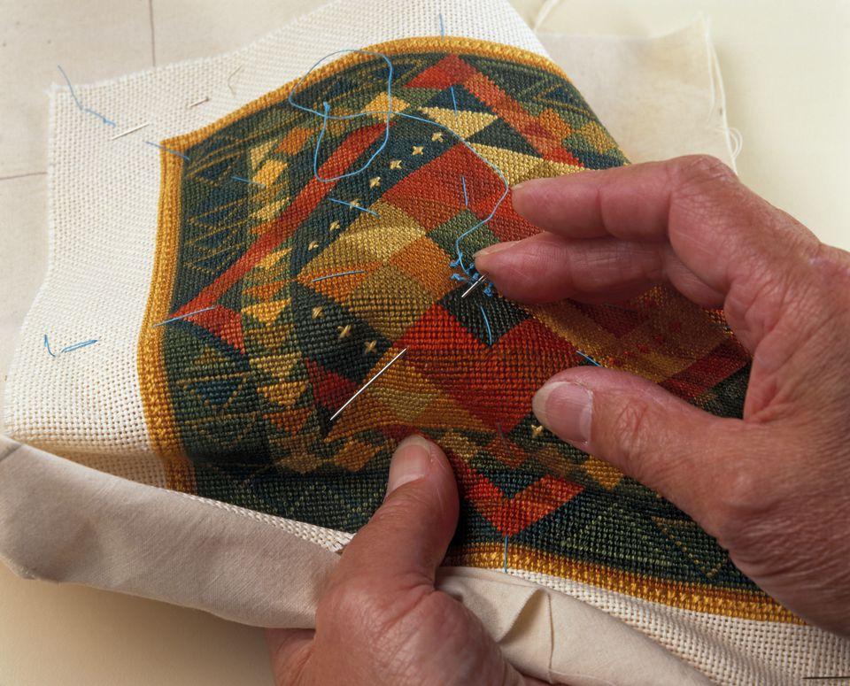 Sewing basting guidelines onto needlepoint design (making a cushion)
