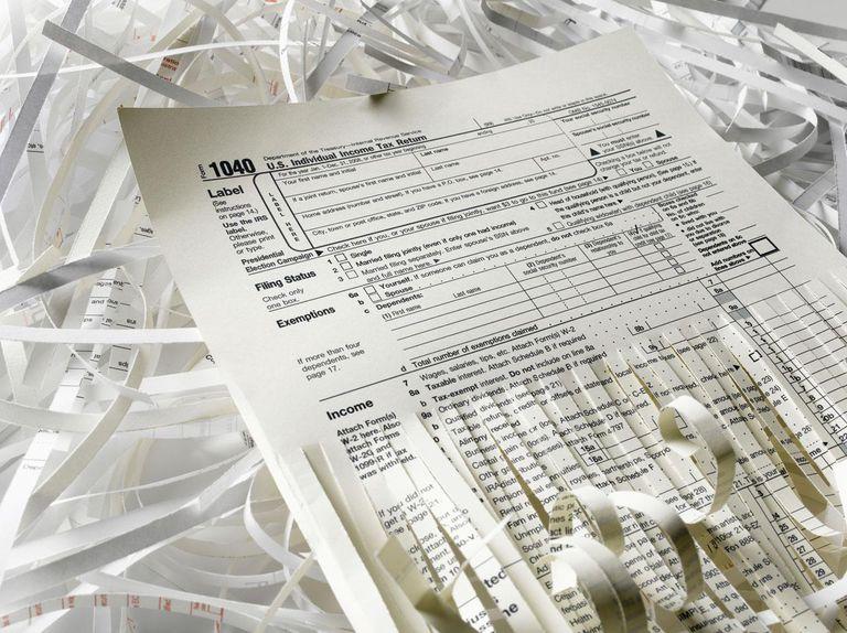 Shredded US tax form