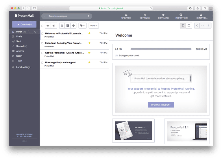 ProtonMail Best Free Email Services 2018