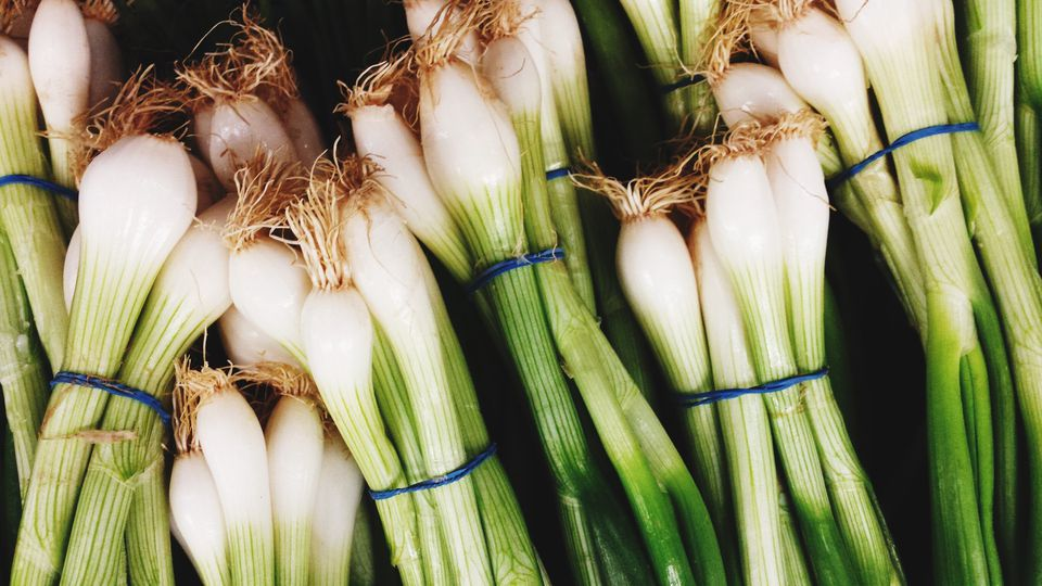 Bunch Of Spring Onions For Sale In Market
