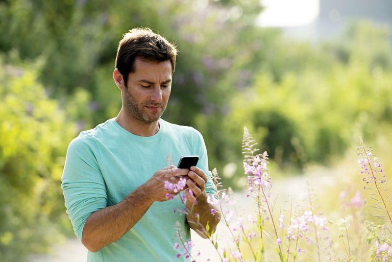 Man checking smartphone