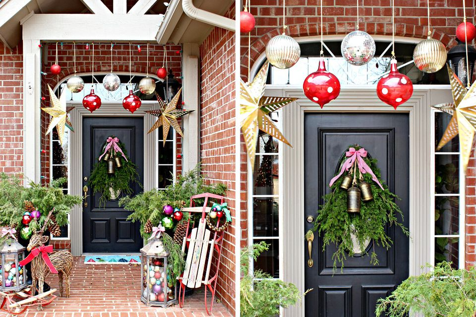 Colorful Christmas front porch