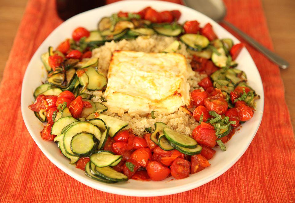 Quinoa and Roasted Feta Cheese Salad
