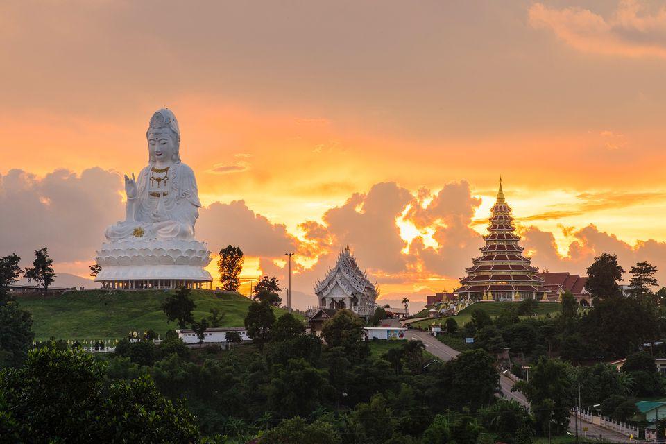 Beautiful sunset at Temple wat hyua pla kang (Chinese temple) Chiang Rai, Thailand