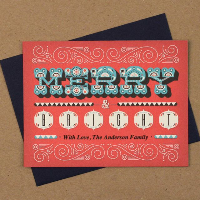 87 free printable christmas cards to send to everyone a red teal and white printable christmas card that says merry bright solutioingenieria Gallery