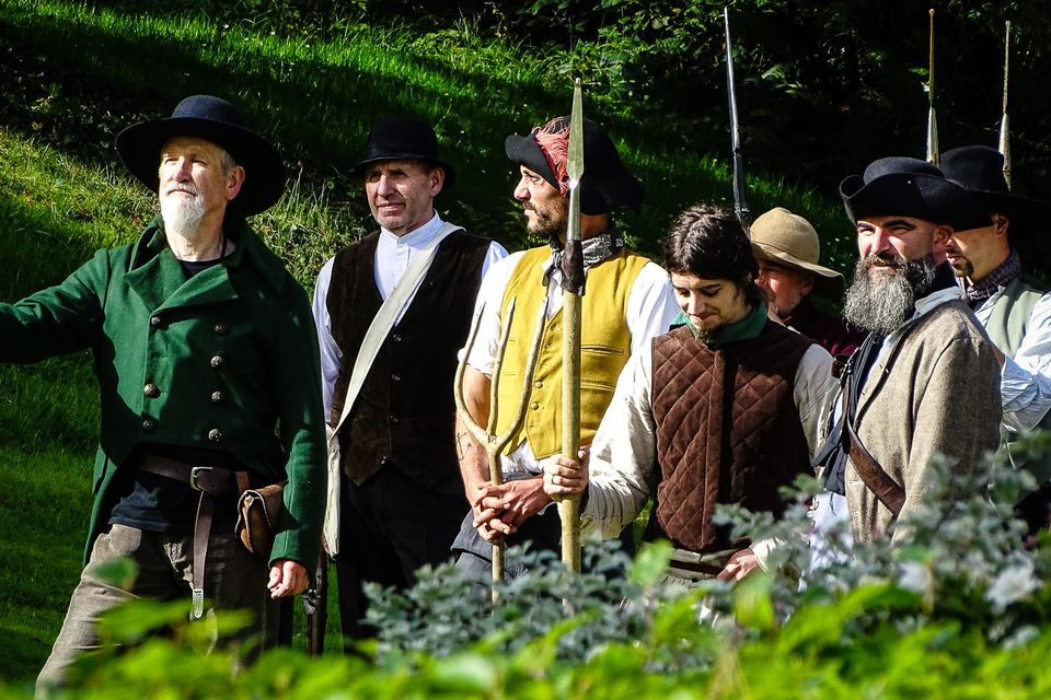 Irish rebels gathering - before a re-enactment of the battle of Ballynahinch. Moonlight optional