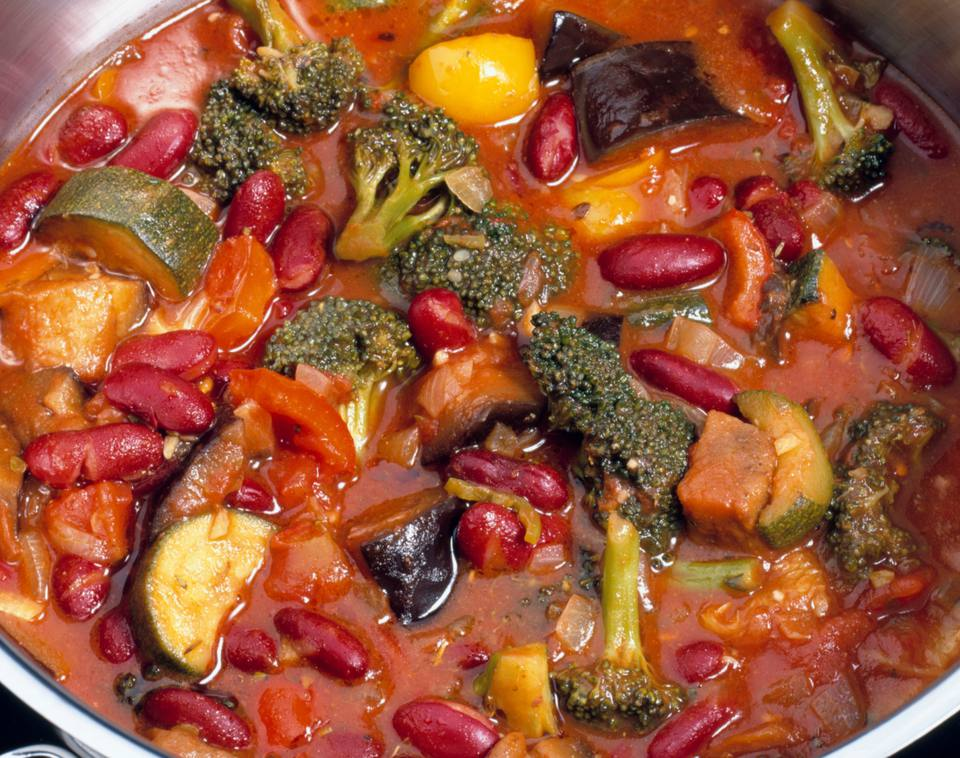 Vegetable chili with beans, broccoli and carrots - so healthy!