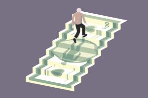 Man climbing up money stairs