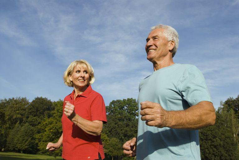 Senior couple powerwalking