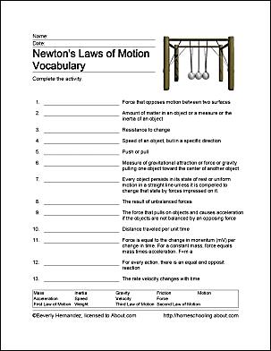 3 laws of motion worksheet breadandhearth. Black Bedroom Furniture Sets. Home Design Ideas