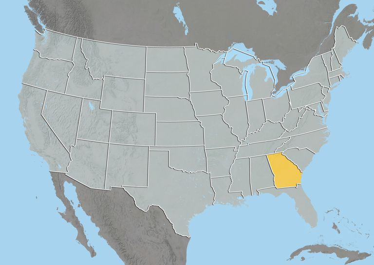 united states map with georgia highlighted
