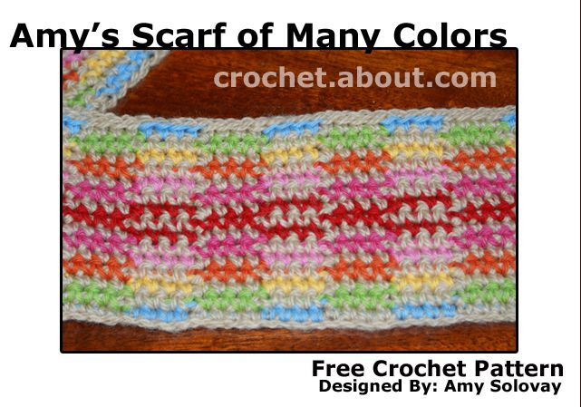 Close-Up Picture of Amy's Scarf of Many Colors.