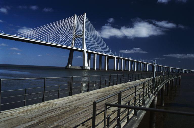 Vasco de Gama Bridge Across the River Tagus in Portugal