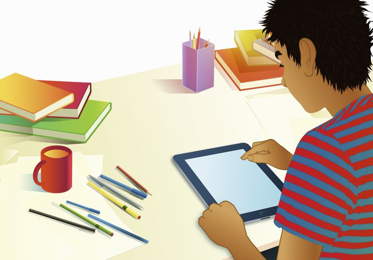 An illustration of a boy using a tablet