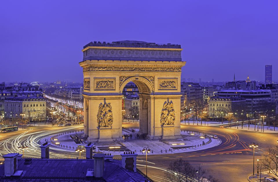The majestic Arc de Triomphe lies at the end of the Champs-Elysees.
