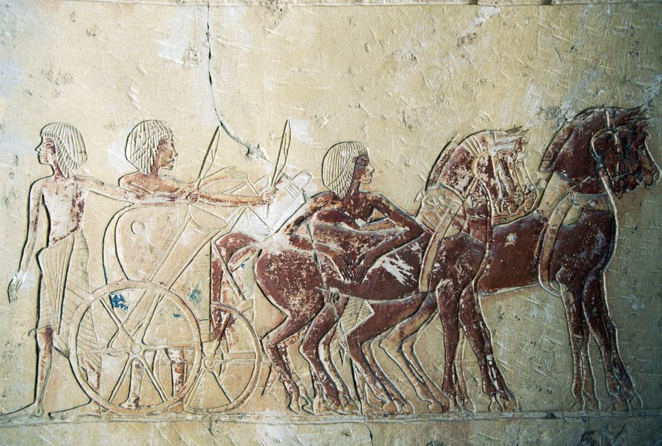 Relief depicting preparation of chariot, mortuary temple of Ramesses III, Medinet Habu, Thebes (UNESCO World Heritage List, 1979), Egyptian civilization, New Kingdom, Dynasty XX