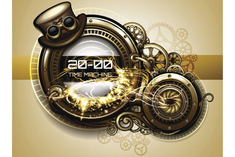 Time machine with cogs and gears