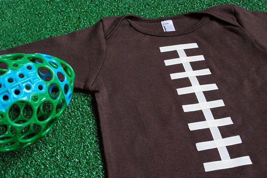 DIY No-Sew Football Onesie Or T-Shirt