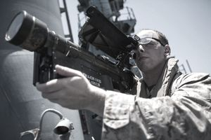 U.S. 5TH FLEET AREA OF RESPONSIBILITY (May 8, 2014) U.S. Marine Corps Cpl. Adam Mastrogiovanni, Marine Medium Tiltrotor Squadron (VMM) 263 (Reinforced), 22nd Marine Expeditionary Unit (MEU), low altitude air defense team leader and native of Joliet, Ill., practices target tracking with a Stinger missile training system aboard the USS Bataan (LHD 5). The 22nd MEU is deployed with the Bataan Amphibious Ready Group as a theater reserve and crisis response force throughout U.S. Central Command and the U.S. 5th Fleet area of responsibility.