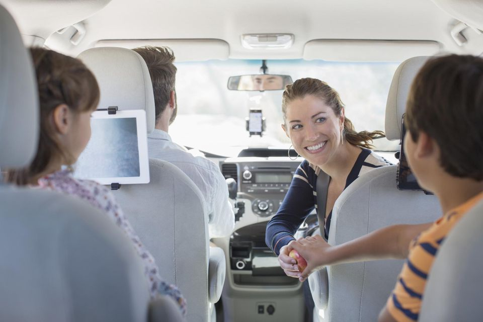Family inside of car