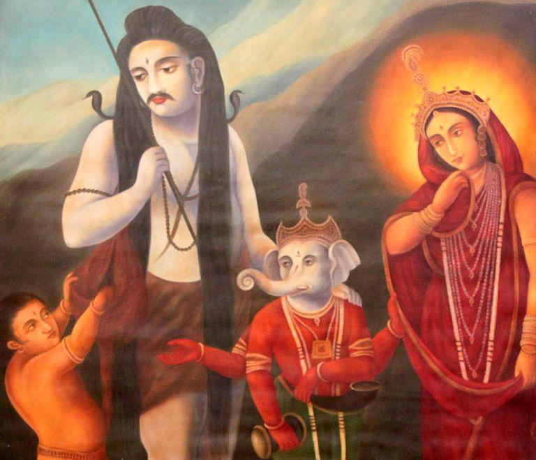 Shiva, Durga and his two sons, Ganesha and Kartikya