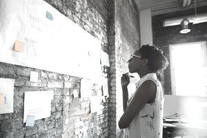 Creative businesswoman brainstorming