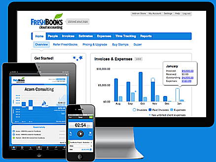 Freshbooks online and mobile accounting software apps.