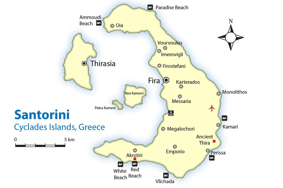 Santorini Map And Guide Cyclades Islands Greece: Santorini Greece Map At Slyspyder.com