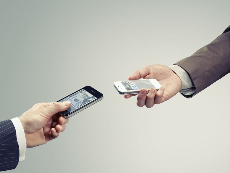 Mobile money exchange with smartphone