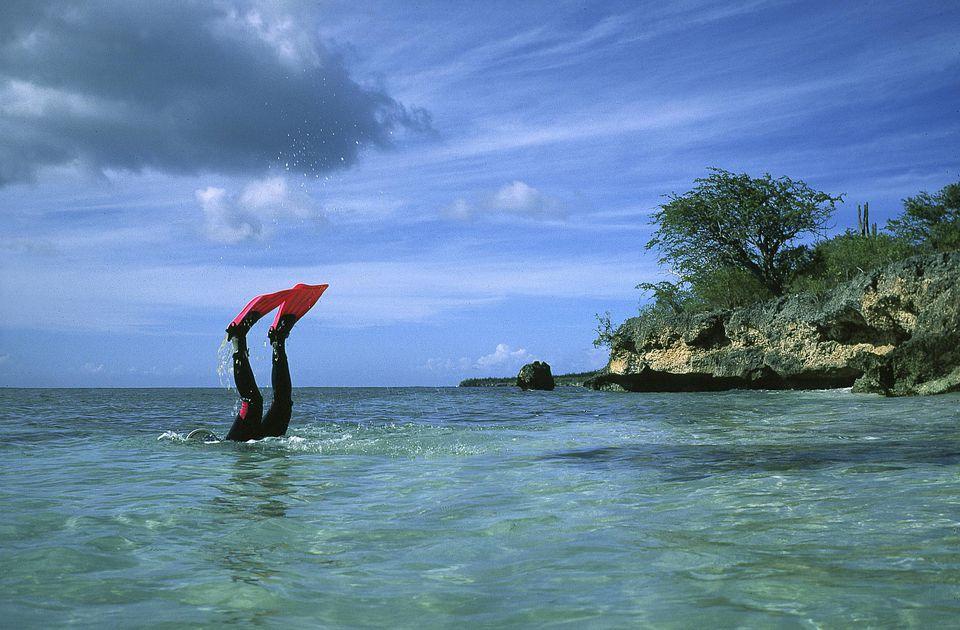 Scuba diver going down from surface, Bonaire, Caribbean Sea, Dutch Antilles