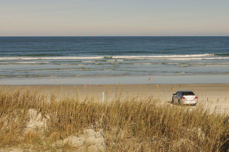 Car Parked on a Florida Beach