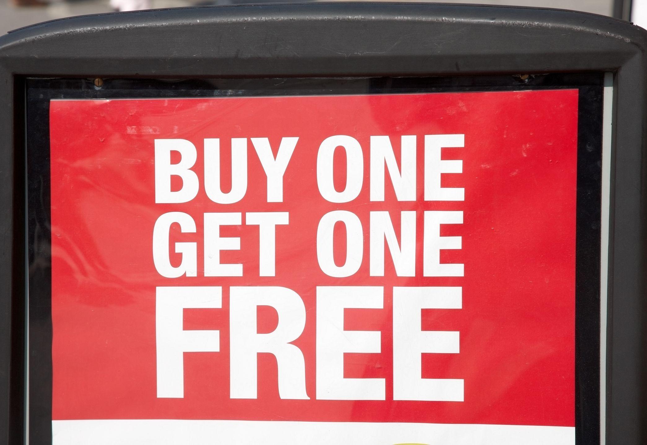 buy one get one free marketing. Black Bedroom Furniture Sets. Home Design Ideas