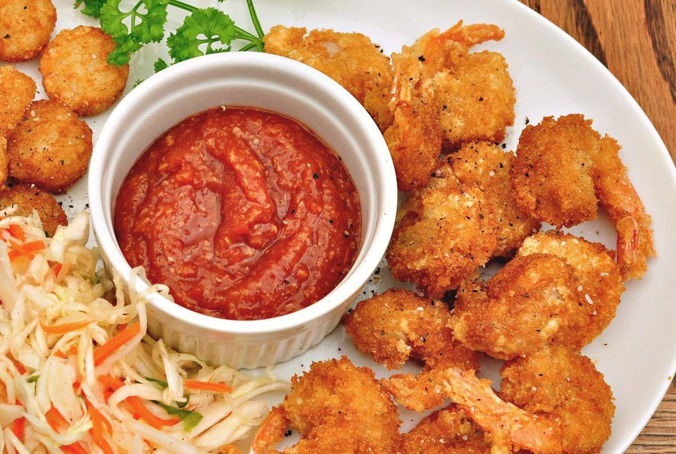 Breaded shrimp and cocktail sauce