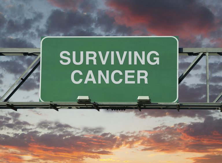 "road sign which says ""surviving cancer"""