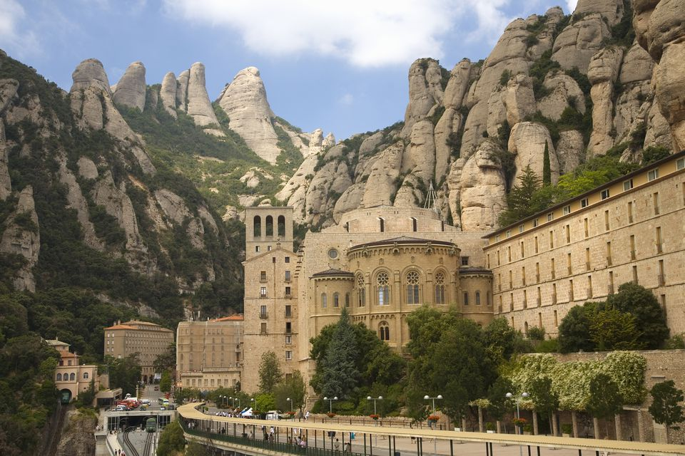 The jagged mountains in Catalonia, Spain, showing the Benedictine Abbey at Montserrat, Santa Maria de Montserrat, near Barcelona