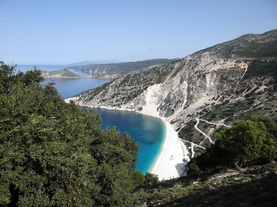 Myrtos Beach on the Greek island of Kefalonia