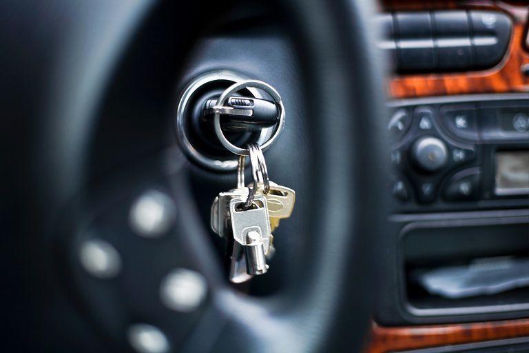 car key in ignition