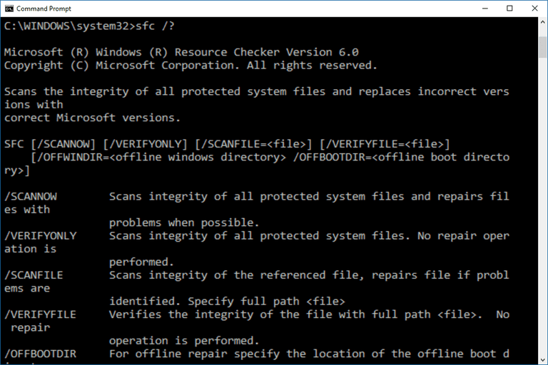 Screenshot of the sfc command in Windows 10