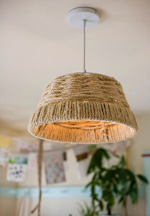 Diy pendant light fixtures from upcycled items diy rope pendant light mozeypictures Choice Image