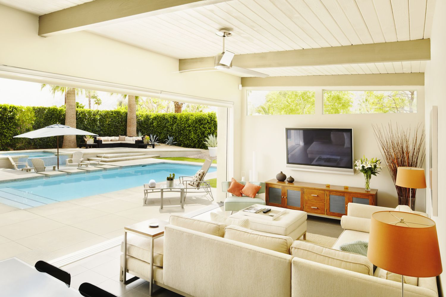 Accentuate the entertaining lifestyle around the pool House with swimming pool in living room