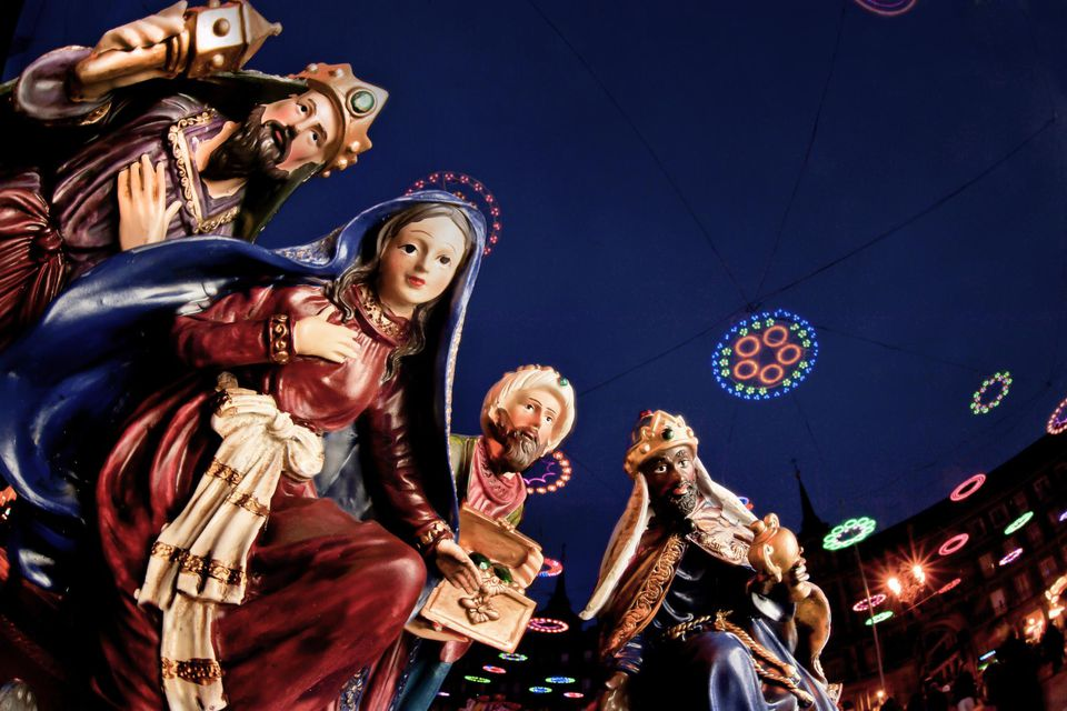 Figurines of the Virgin Mary and Three Kings in Madrid, Spain.