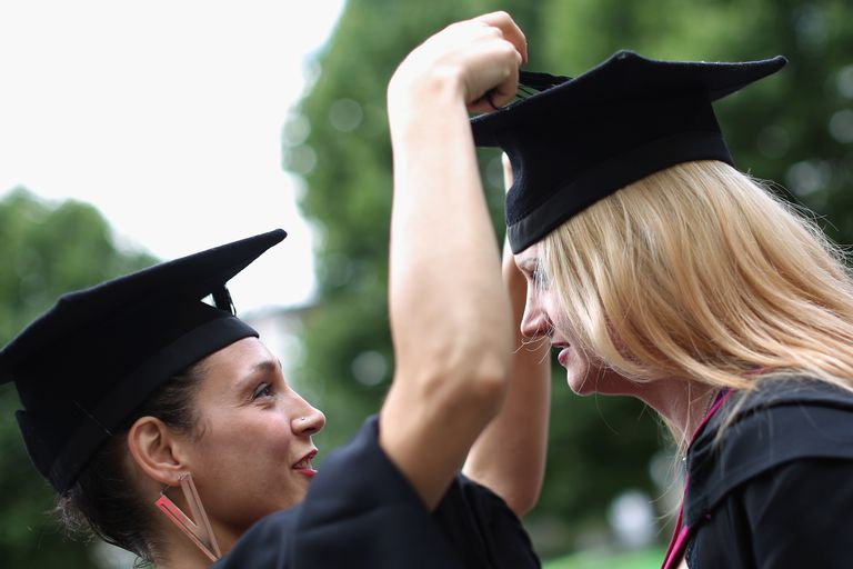 Two Young Women Graduating from College