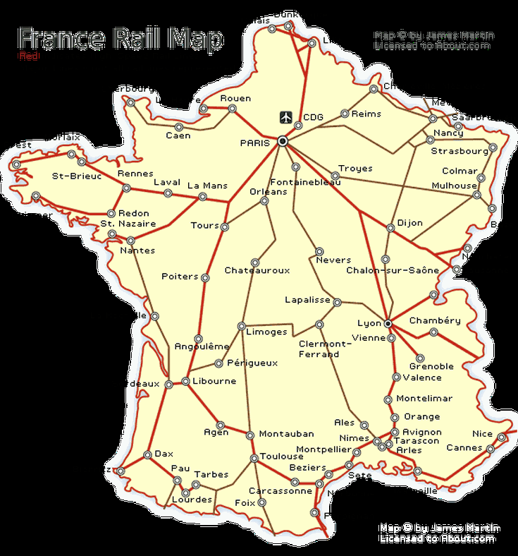 France Rail Map and French Train Travel Information